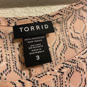 torrid Tops - Multicolor Geo Print Open Back Georgette Blouse